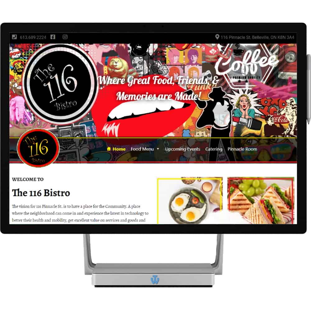 The 116 Bistro website home page shown on desktop computer